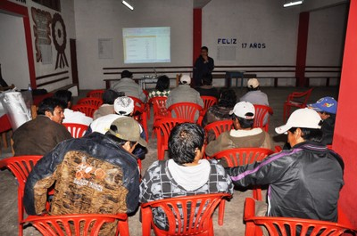 Fishermen attending a workshop in order to prioritize species that inhabited Marcona waters.